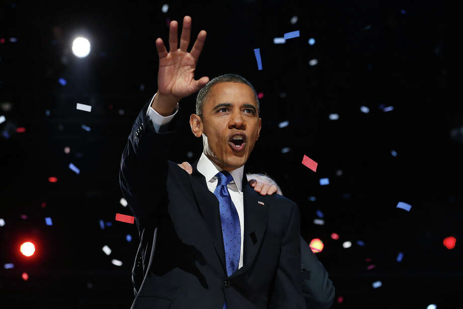 CHICAGO, IL - NOVEMBER 06:  U.S. President Barack Obama delivers his victory speech after being reelected for a second term at McCormick Place November 6, 2012 in Chicago, Illinois. Obama won reelection against Republican candidate, former Massachusetts Governor Mitt Romney. Photo: Chip Somodevilla, Getty Images / 2012 Getty Images