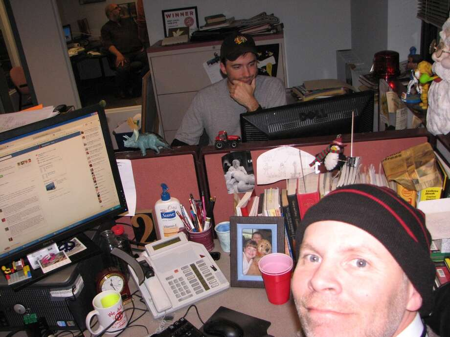 Me and Web Producer Jim Margalus after midnight and ramped up on coffee and deadlines.