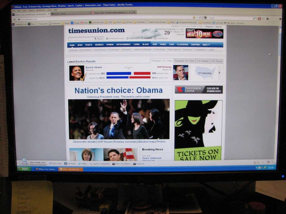 By the end of the night, here's what timesunion.com looked like.