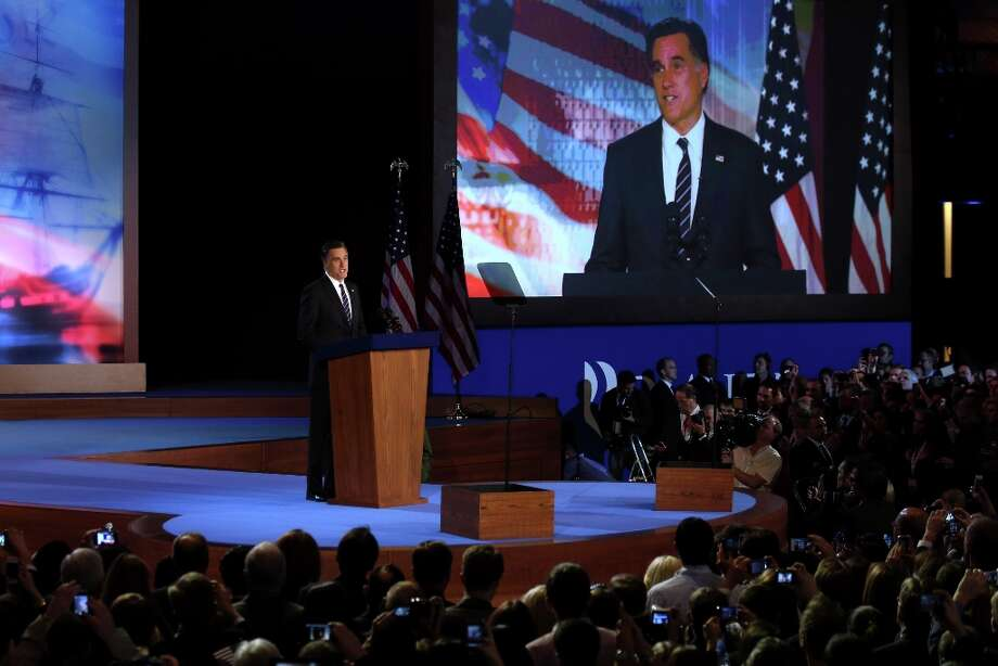 Republican presidential candidate, Mitt Romney, speaks at the podium as he concedes the presidency during Mitt Romney's campaign election night event at the Boston Convention & Exhibition Center on November 7, 2012 in Boston, Massachusetts. After voters went to the polls in the heavily contested presidential race, networks projected incumbent U.S. President Barack Obama has won re-election against Republican candidate, former Massachusetts Gov. Mitt Romney.  (Photo by Alex Wong/Getty Images) Photo: Alex Wong, Getty Images / 2012 Getty Images