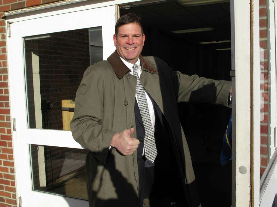 Tom O'Dea, Republican winner of the 125th State Rep seat goes in to vote Tuesday morning, Nov. 6. Photo: Tyler Woods