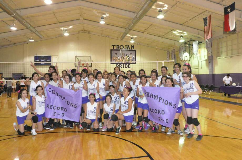 The seventh grade volleyball team from Terrell Wells Middle School went undefeated this year. Photo: Courtesy Photo