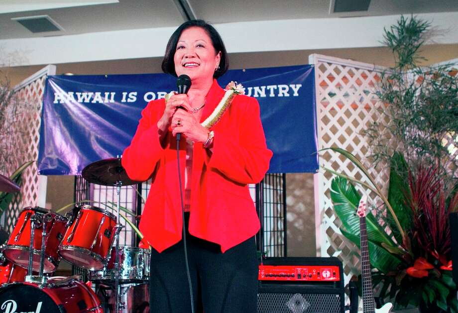 U.S. Rep. Maize Hirono gives a victory speech at the Japanese Cultural Center, Tuesday, Nov. 6, 2012 in Honolulu. (AP Photo/Marco Garcia) Photo: Marco Garcia, ASSOCIATED PRESS / 20112011
