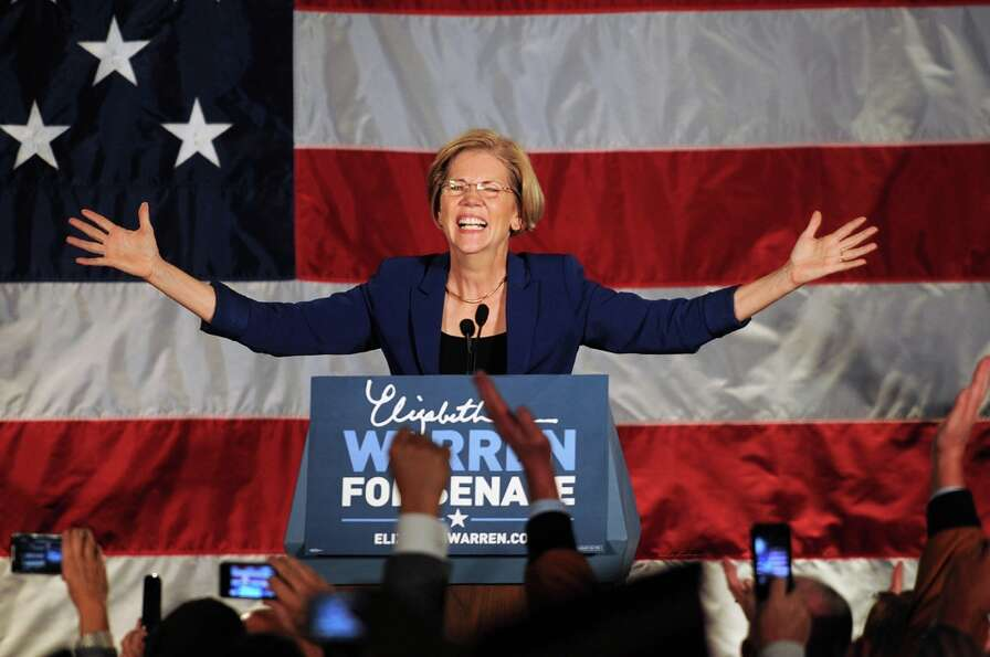 BOSTON, MA - NOVEMBER 6: Elizabeth Warren takes the stage for her acceptance after beating incumbent