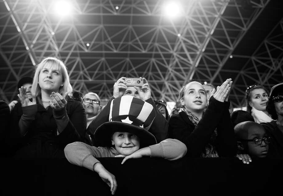 BLACK AND WHITE VERSION - Supporters listen as US President Barack Obama speaks during a campaign event at the Henry Maier Festival in Milwaukee, Wisconsin, September 22, 2012. AFP PHOTO / Saul LOEB        (Photo credit should read SAUL LOEB/AFP/GettyImages) Photo: SAUL LOEB, AFP/Getty Images / 2012 AFP
