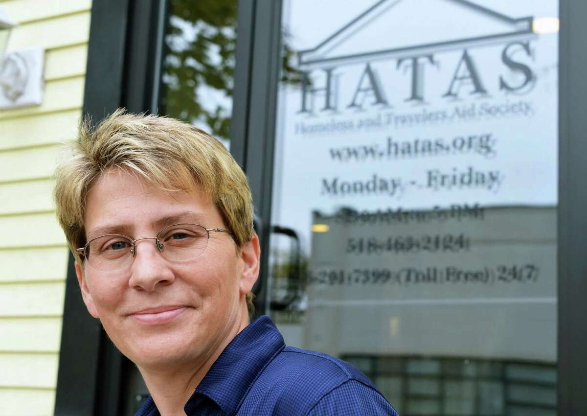 Liz Hitt, Director of HATAS, outside the Albany center Wednesday Oct. 3, 2012. (John Carl D'Annibale / Times Union)