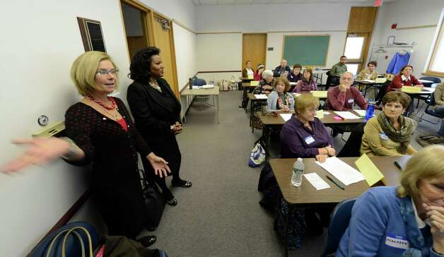 Sue Hensley-Cushing, left coordinator and Sylvia Jimison, Executive Directive, CEO attend a class for Literacy New York Greater Capital Region at the Guilderland Library in Guilderland, N.Y. Oct 18, 2012.   (Skip Dickstein/Times Union) Photo: Skip Dickstein / 00019602A