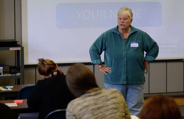 Sherry Hanska, a trainer-in-training leads a class for Literacy New York Greater Capital Region at the Guilderland Library in Guilderland, N.Y. Oct 18, 2012.   (Skip Dickstein/Times Union) Photo: Skip Dickstein / 00019602A
