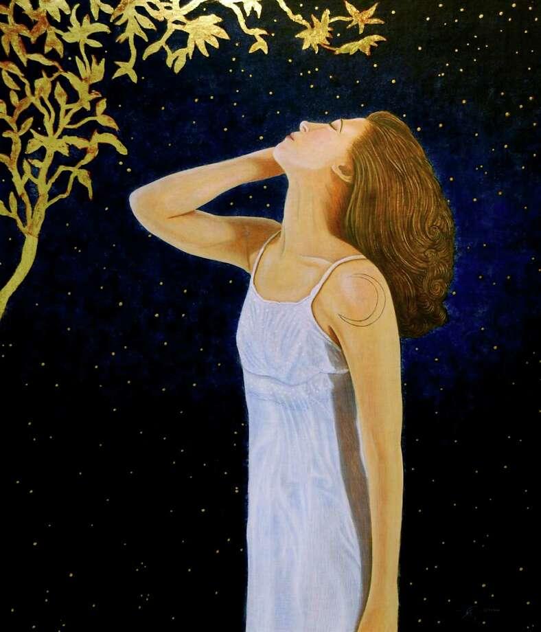 """Jon Gernon?s Selene - Egg Tempera & 23k Gold on linen/wood - 14"""" x 17"""" (Courtesy the artist)"""