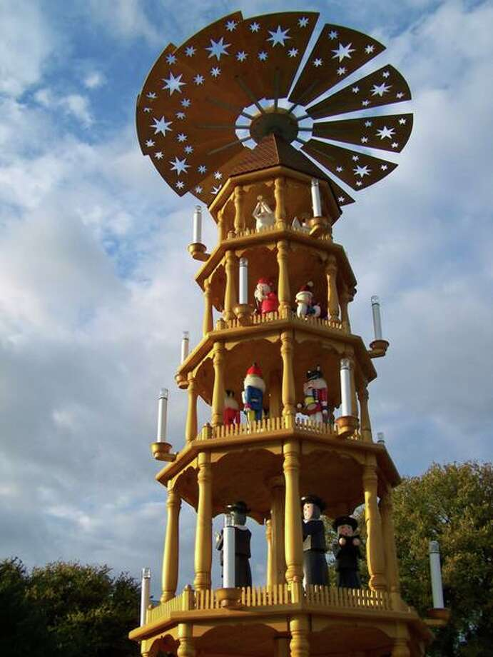 Fredericksburg's German Pyramid will be lighted on Friday, Nov. 23, along with the Community Christmas Tree at Marktplatz, setting the stage for a month full of events with a German flavor in the Hill Country town. Photo: Fredericksburg CVB