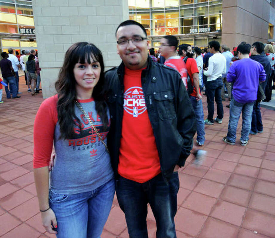 Daniela and David came out to the first Rockets home game of the 2012-13 season against the Portland Trail Blazers on Sat. Nov 3. (Buck Bedia / For the Chronicle)