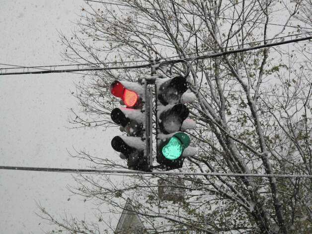 Stop light at the intersection of Cherry and East. 11/7/12. Photo: Tyler Woods