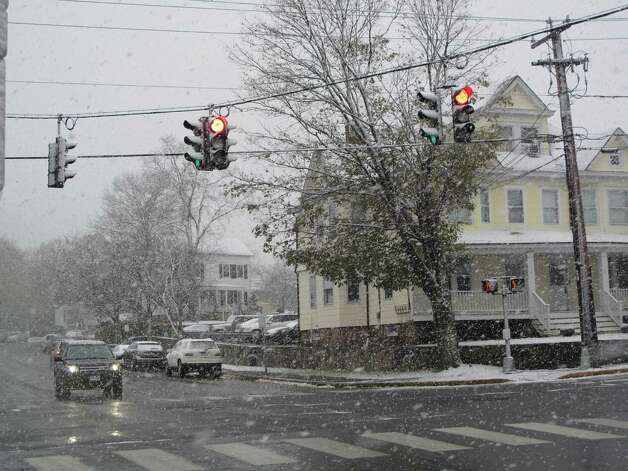 The snowy intersection of East and Cherry. 11/7/12. Photo: Tyler Woods