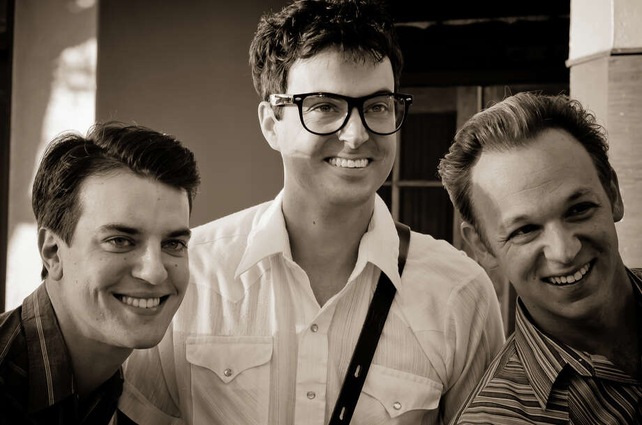 Garrett Mann (from left), Stewart Mann and Tony Gloria play Buddy Holly and two of the Crickets. Photo: Courtesy, James Teninty