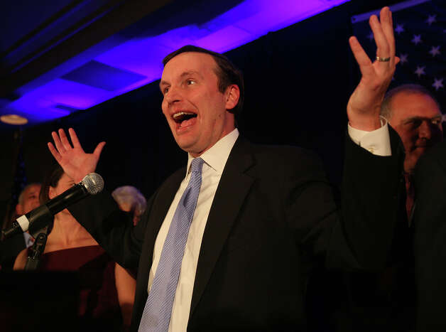 Chris Murphy gestures to the crowd after winning his senate race against Linda McMahon at the Hilton Hotel in Hartford on Tuesday, November 6, 2012. Photo: Brian A. Pounds / Connecticut Post