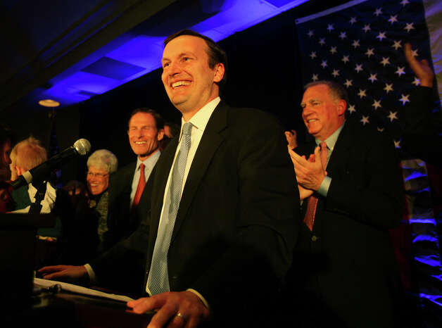 Senate winner Chris Murphy smiles to the crowd as he prepares to give his victory speech at the Hilton Hotel in Hartford on Tuesday, November 6, 2012. Photo: Brian A. Pounds / Connecticut Post