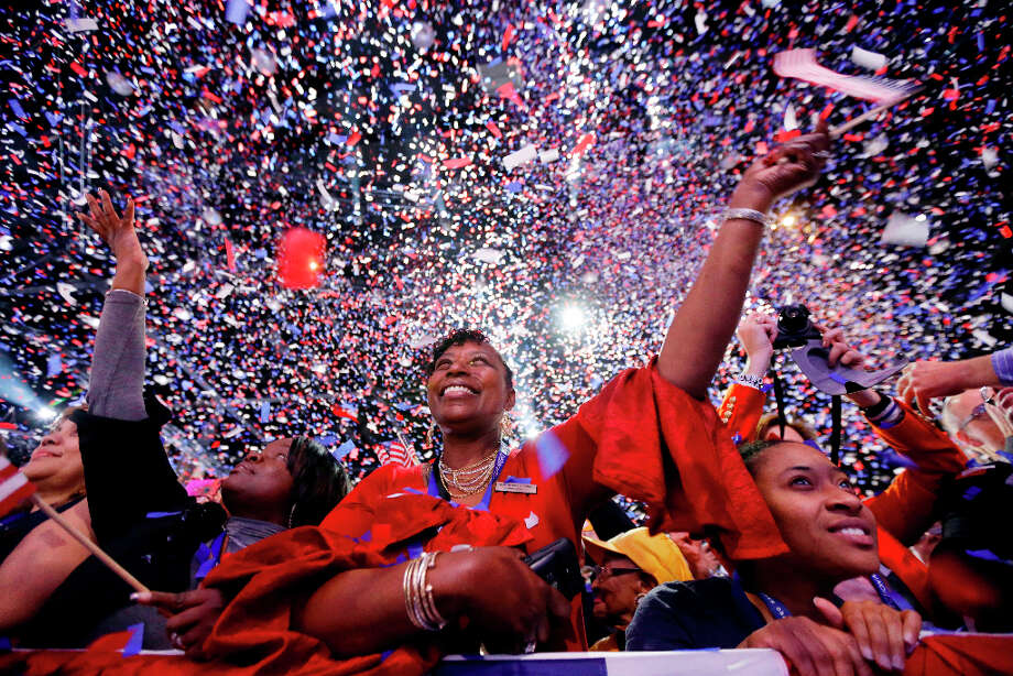 Supporters cheer at the end of President Barack Obama remarks during an election night party, early Wednesday, Nov. 7, 2012, in Chicago. Obama defeated Republican challenger former Massachusetts Gov. Mitt Romney. Photo: Matt Rourke, Associated Press / AP