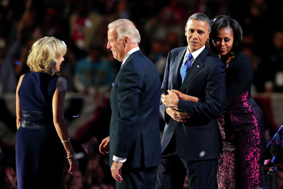 President Barack Obama stands on stage with first lady Michelle Obama, U.S. Vice President Joe Biden and Dr. Jill Biden after his victory speech on election night at McCormick Place November 6, 2012 in Chicago, Illinois. Obama won reelection against Republican candidate, former Massachusetts Governor Mitt Romney.  (Photo by Spencer Platt/Getty Images) Photo: Spencer Platt, Getty Images / 2012 Getty Images