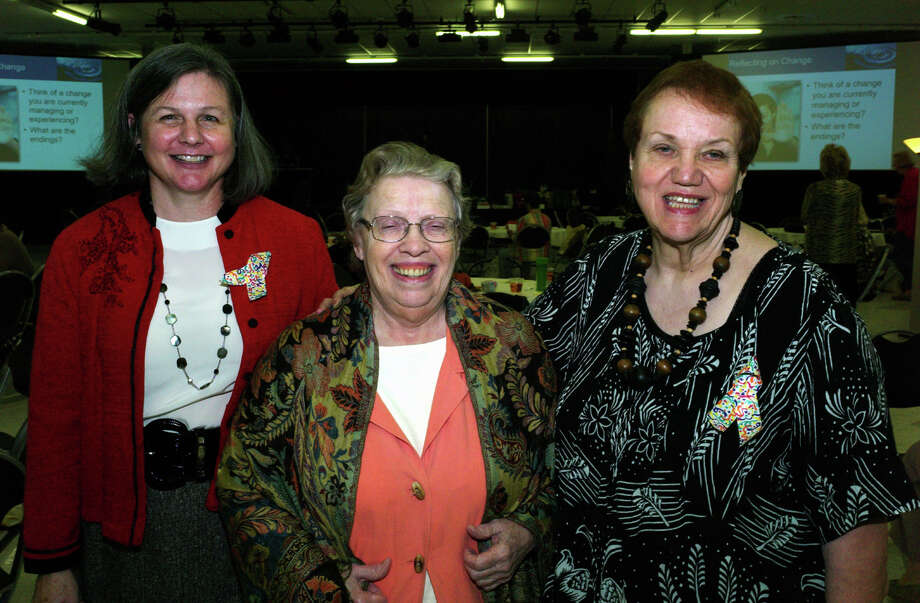 Bexar County Family Caregiver Support Coalition celebration:  Speaker Carol Bertsch (from left), volunteer Sally Tyger and chairwoman  Sue Ellen Lewis gather during the celebration at Tri-Point.