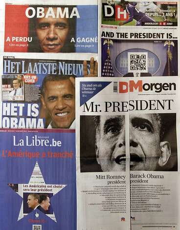 "A spread of Belgian newspapers is shown in Brussels on the morning after the U.S. elections, Wednesday, Nov. 7, 2012. Faced with U.S. election results coming after printing deadlines, Belgian newspapers found novel ways around the problem. Het Laatste Nieuws, middle left, produced two front pages, asking readers to ""pick your cover."" One was headlined ""It's Obama"" while another, folded inside, read ""It's Romney."" De Morgen, bottom right, cut its front page in half, with one side saying ""Mitt Romney President"" and the other ""Barack Obama President."" On the Romney side it said ""Please turn quickly if Obama is the winner."" Le Soir's front page, top left, screamed ""Obama,"" followed on the left with ""Has Lost ,read page 2"" and on the right ""Has Won, read page 3."" Sports newspaper La Derniere Heure, top right, left the face blank and instead provided a scan code to download the winner onto a cellphone. (AP Photo/Virginia Mayo) Photo: Virginia Mayo, Associated Press"