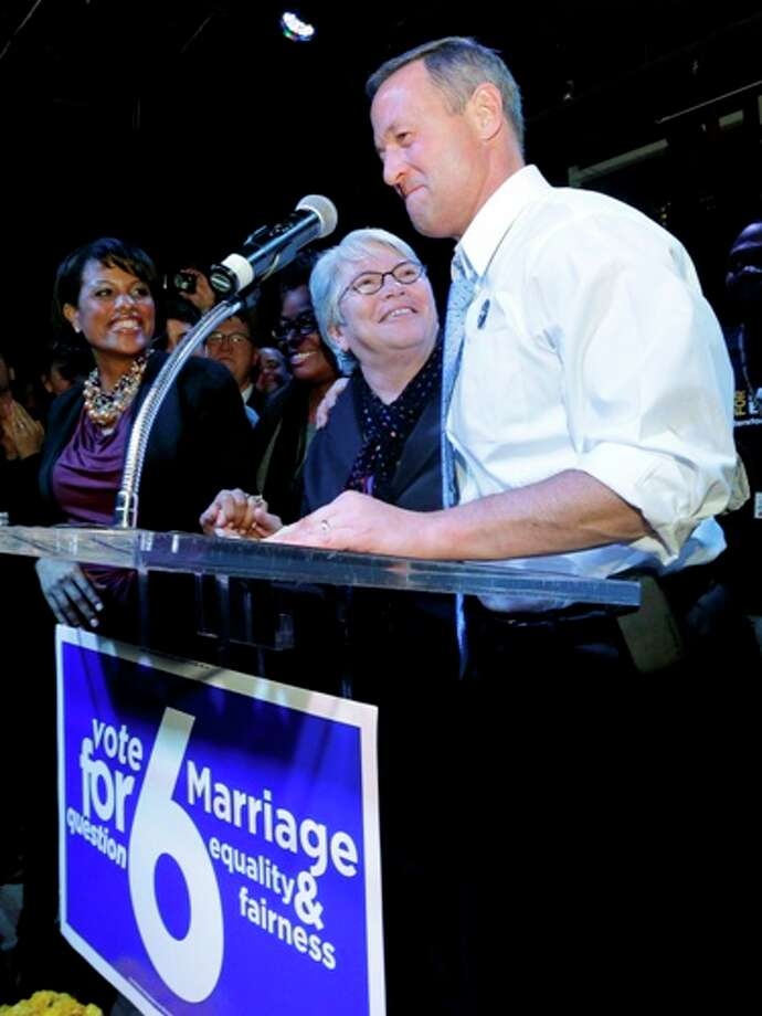 Baltimore Mayor Stephanie Rawlings-Blake, left, Rep. Maggie McIntosh, D-Baltimore City, center and Maryland Gov. Martin O'Malley celebrate onstage at an Election Night party in Baltimore, Tuesday, Nov. 6, 2012, after voters passed a referendum approving same sex marriage in Maryland. Photo: Patrick Semansky