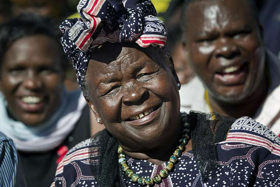 Sarah Obama, step-grandmother of President Barack Obama, speaks to the media about her reaction to Obama's re-election, in the garden of her house in the village of Kogelo, western Kenya Wednesday, Nov. 7, 2012. Obama won re-election Tuesday night despite a fierce challenge from Republican Mitt Romney, prevailing in the face of a weak economy and high unemployment that encumbered his first term and crimped the middle class dreams of millions. Photo: Ben Curtis, Associated Press