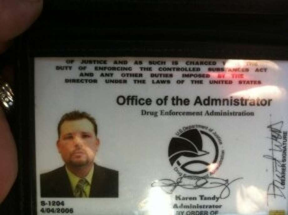 The fake DEA credential, with a big spelling error, carried by David Webb (govt source)