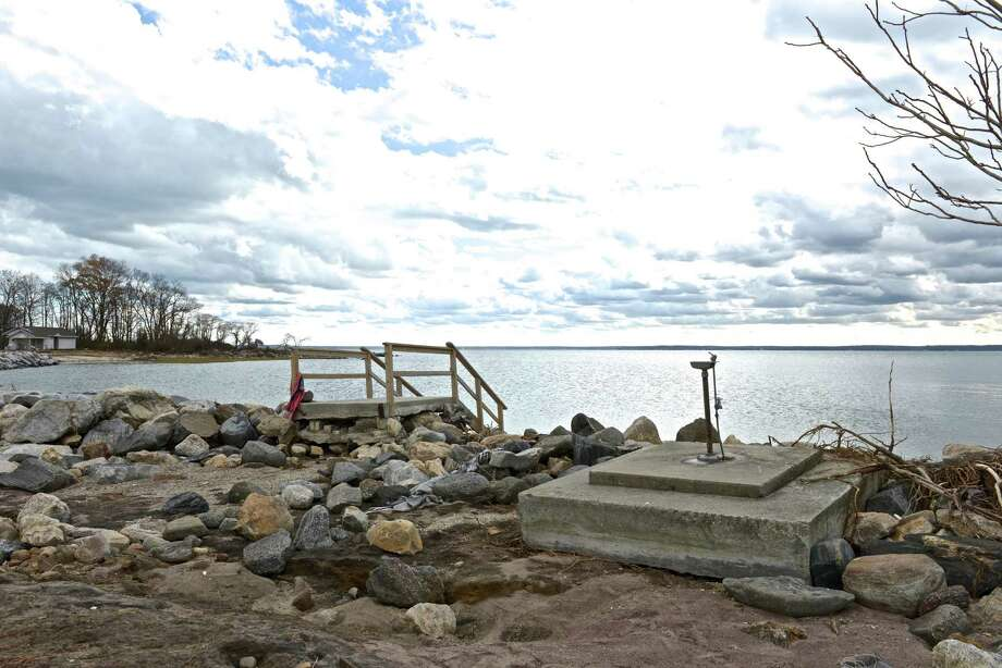 The walkway on Great Captain's Island is washed away by the surge of Hurricane Sandy. Photo: Contributed Photo / Greenwich Citizen