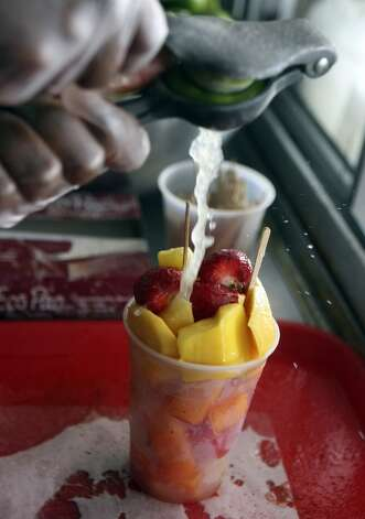 A fruit cup at Los Valles Produce. (SAN ANTONIO EXPRESS-NEWS)