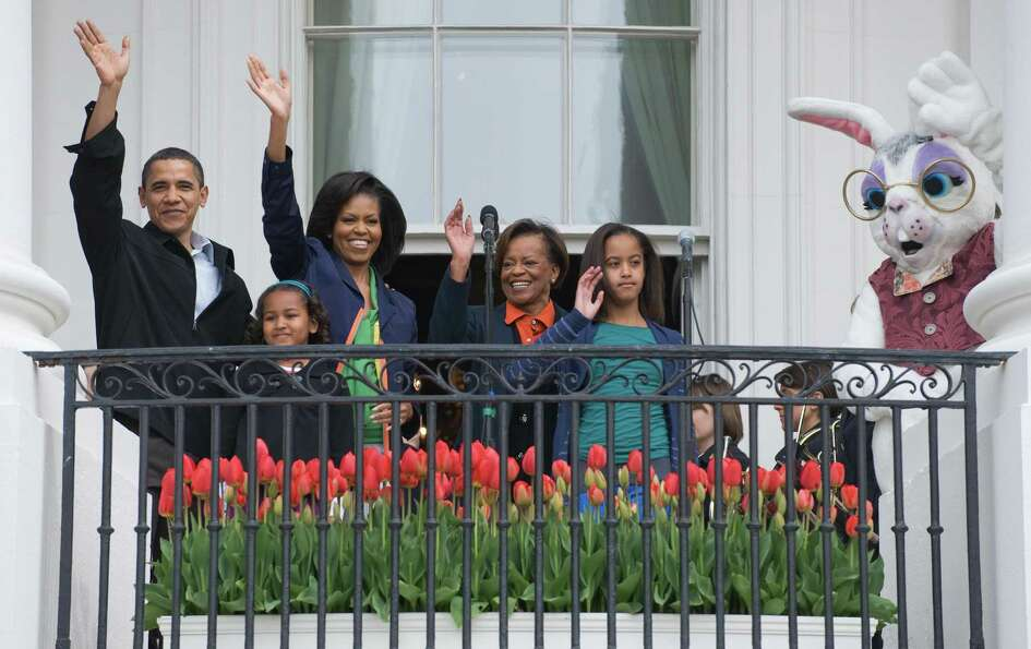 President Barack Obama, his wife, Michelle, daughters, Sasha and Malia, Michelle's mother, Marian Ro
