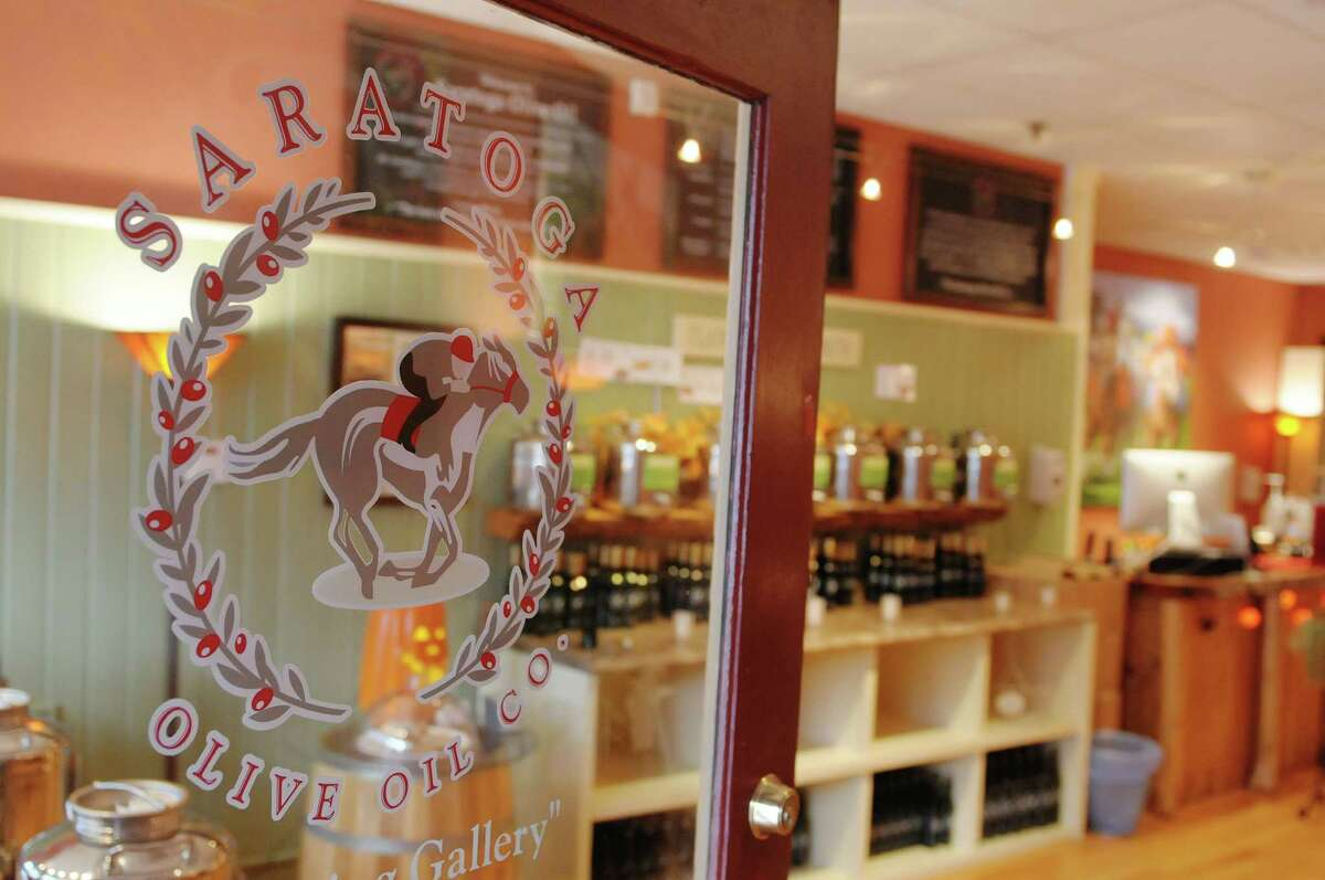 A view of the front entrance at the Saratoga Olive Oil Co. on Tuesday, Oct. 30, 2012 on Broadway in Saratoga Springs, NY. The store sells different flavors of olive oil, balsamic vinegar and salt. (Paul Buckowski / Times Union)