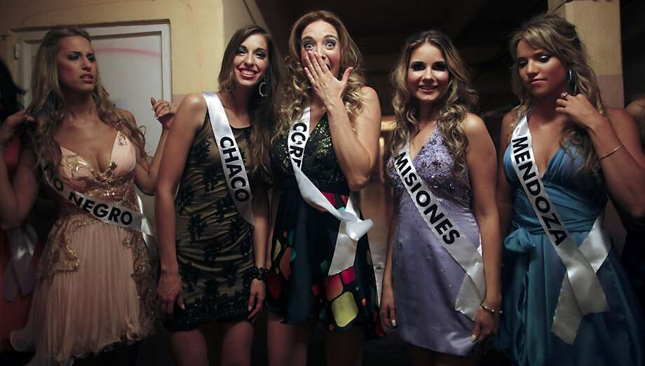 Why, yes, we all do have the same haircut! Argentina's regional beauties wait to go on stage at the Miss Argentina contest in Buenos Aires. The winner advances to the Miss Universe pageant. Photo: Natacha Pisarenko, Associated Press