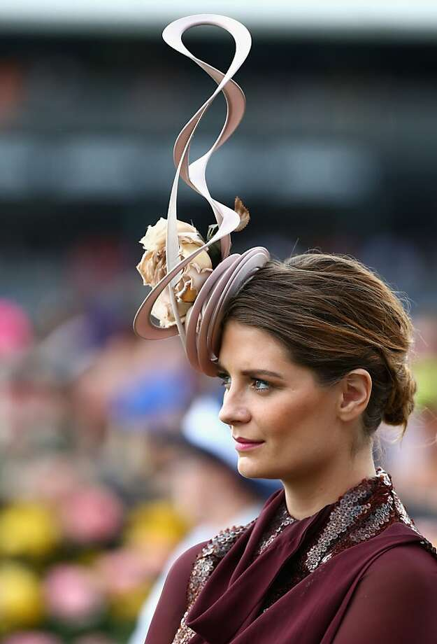 Hair waves: Actress Mischa Barton's twisty aerial hat gets a good reception at the Emirates Melbourne Cup in Melbourne, Australia. Photo: Ryan Pierse, Getty Images