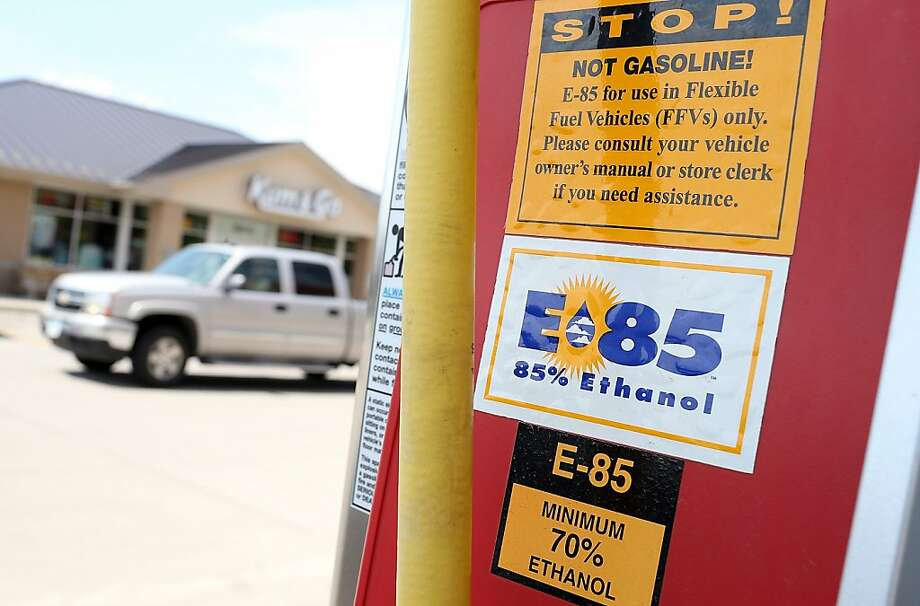 A pump in Iowa dispenses ethanol fuel. A drought has pushed up corn prices. Photo: Justin Sullivan, Getty Images