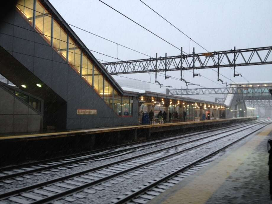 Snow covers the Stamford train station. (A.M. Virzi)