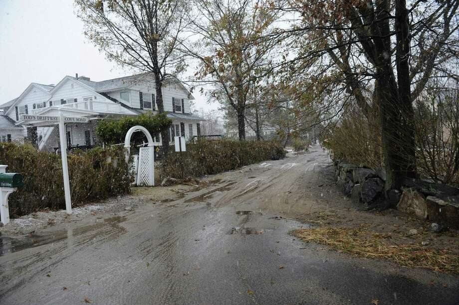 Tod's Driftway and Cove Road in Old Greenwich, Conn. Wednesday, Nov. 7, 2012, during the Nor'easter. Photo: Helen Neafsey / Greenwich Time