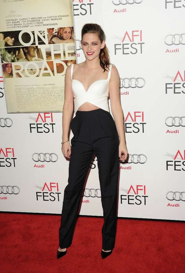 Actress Kristen Stewart took third, for outfits this one she wore to  'On The Road' premiere during the 2012 AFI Fest. Photo: Jason Merritt, Getty Images / 2012 Getty Images