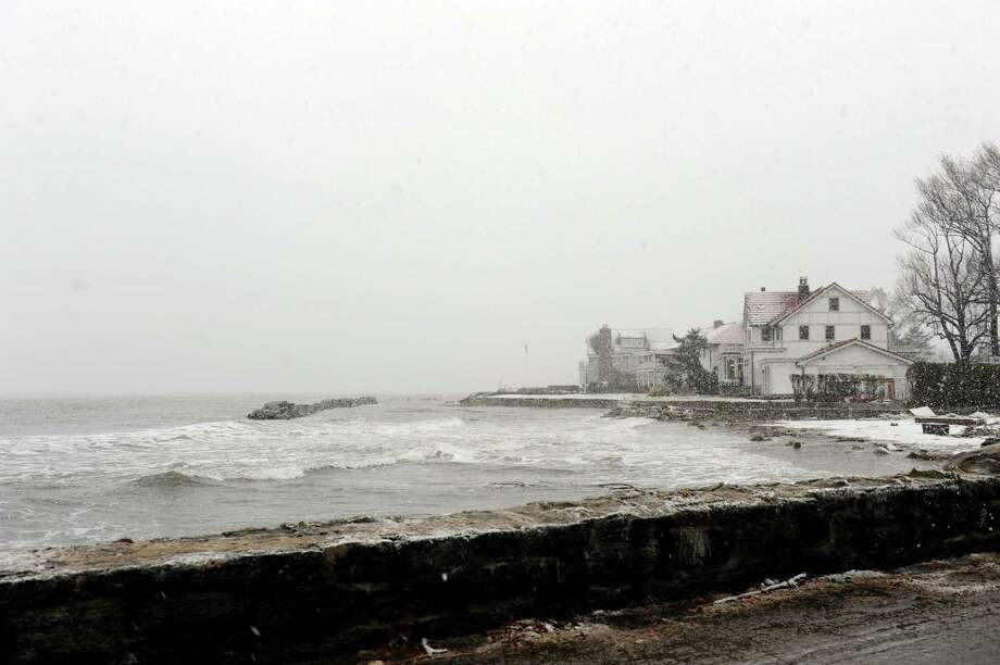 A house on Tod's Driftway in Old Greenwich, Conn. Wednesday, Nov. 7, 2012, during the Nor'easter. Photo: Helen Neafsey