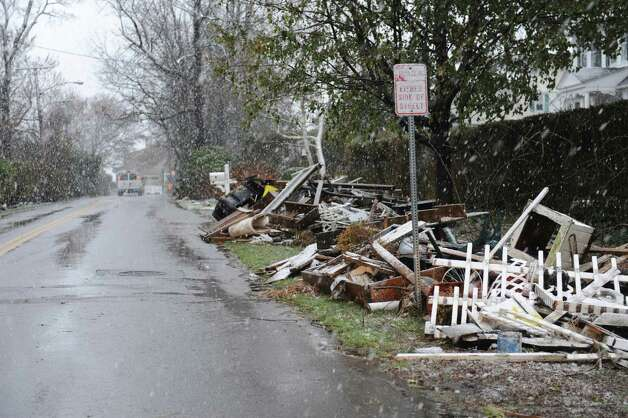 Shore Road in Old Greenwich, in Conn., Wednesday, Nov. 7, 2012, during the Nor'easter. Photo: Helen Neafsey / Greenwich Time