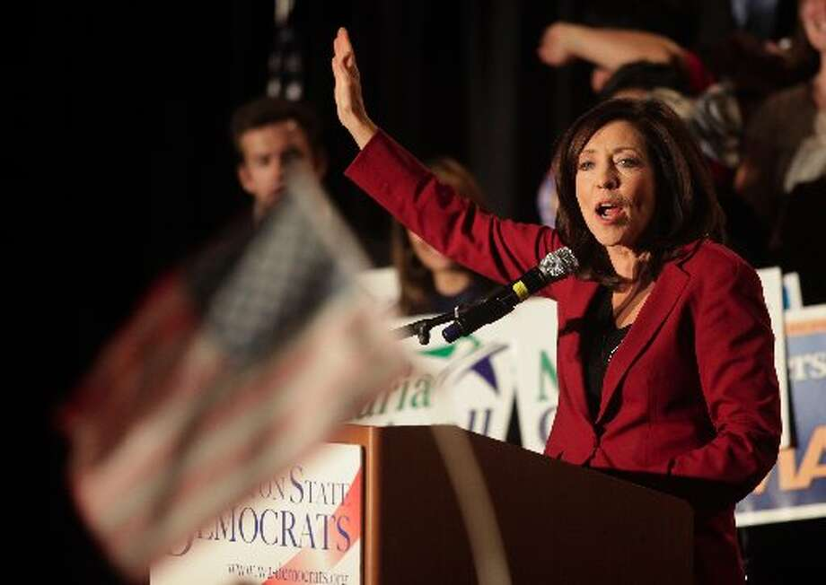 Sen. Maria Cantwell, D-Washington, addresses the crowd at an election night party. (AP  Photo/Everett Herald, Mark Mulligan)