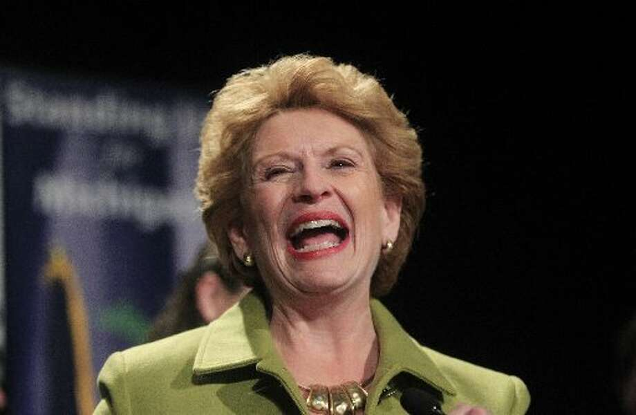 Sen. Debbie  Stabenow, D-Mich., smiles during her address to supporters at the Michigan Democratic election night party at the MGM Grand Detroit. (AP Photo/Carlos Osorio)