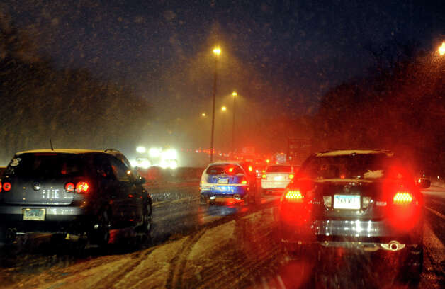 Drivers face extended delays due to the latest storm to hit the area along I95 northbound in Fairfield, Conn. on Wednesday November 7, 2012. Photo: Christian Abraham / Connecticut Post