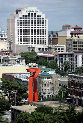 BUSINESS ----- The downtown San Antonio skyline is seen Friday morning July 27, 2007 from the still-under-construction Hyatt Convention Center Hotel. (WILLIAM LUTHER/STAFF) Photo: WILLIAM LUTHER, SAN ANTONIO EXPRESS-NEWS / SAN ANTONIO EXPRESS-NEWS