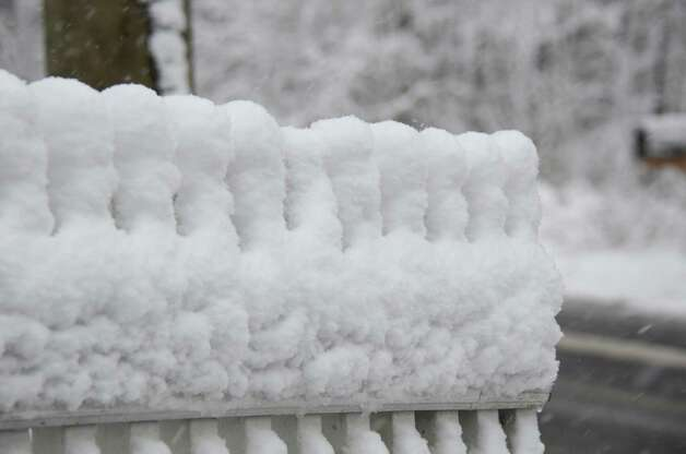 First snowfall of the season in New Canaan. Wednesday, Nov. 7, 2012, New Canaan, Conn. Photo: Jeanna Petersen Shepard