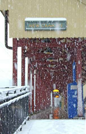 First snowfall of the season at the New Canaan train station.  Nov. 7, 2012, New Canaan, Conn. Photo: Jeanna Petersen Shepard