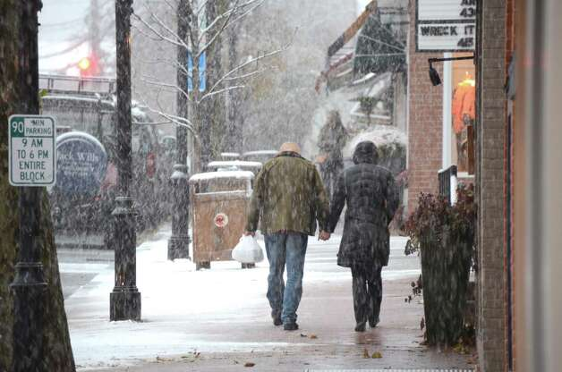 A first wintry walk through town.  Nov. 7, 2102, New Canaan, Conn. Photo: Jeanna Petersen Shepard