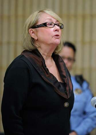 Former Oxford Tax Collector Karen Guillet addresses the court during her sentencing Wednesday, Nov. 7, 2012 in state Superior Court in Milford, Conn.  Guillet, 63, pleaded guilty in July to a felony larceny charge for embezzling hundreds of thousands of dollars from the town while serving as tax collector. Photo: Autumn Driscoll / Connecticut Post