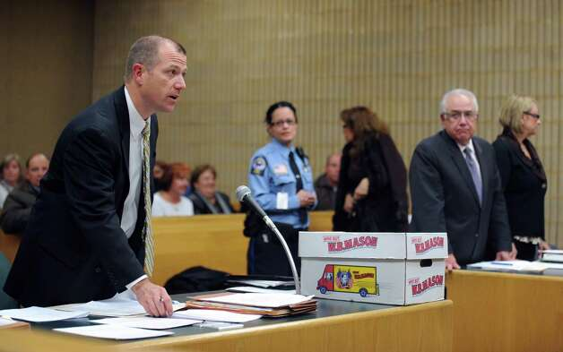 StateâÄôs Attorney Kevin Lawlor addresses the court during the sentencing hearing for former Oxford Tax Collector Karen Guillet Wednesday, Nov. 7, 2012 in state Superior Court in Milford, Conn.  Guillet, 63, pleaded guilty in July to a felony larceny charge for embezzling hundreds of thousands of dollars from the town while serving as tax collector. Photo: Autumn Driscoll / Connecticut Post