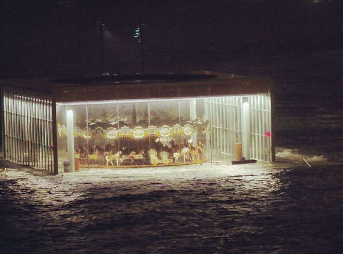 In this Instagram photo provided by Ana Andjelic, Jane's Carousel in Brooklyn Bridge Park is surrounded by floodwaters from Sandy's surge on Oct. 30. More than 801,000 Instagram photos and images with the tag
