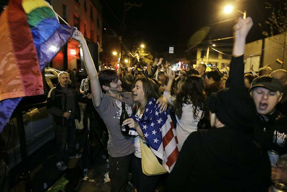 Backers of the measure to make same-sex marriage legal in Washington state celebrate in the streets of Seattle's Capitol Hill neighborhood as returns showed the referendum winning. Photo: Ted S. Warren, Associated Press